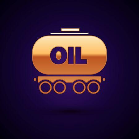 Gold Oil railway cistern icon isolated on dark blue background. Train oil tank on railway car. Rail freight. Oil industry. Vector Illustration