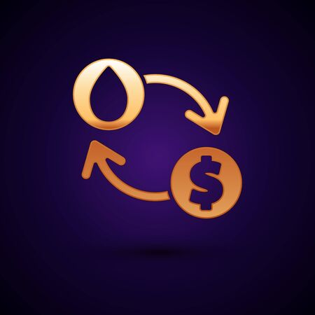 Gold Oil exchange, water transfer, convert icon isolated on dark blue background. Vector Illustration Stock Illustratie