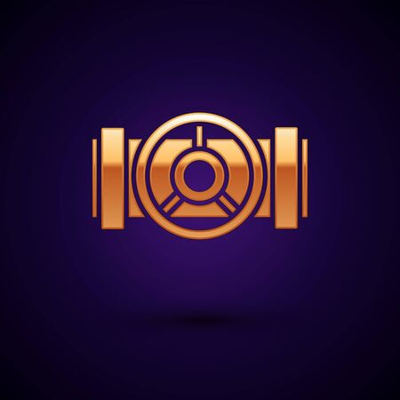 Gold Industry metallic pipes and valve icon isolated on dark blue background. Vector Illustration 스톡 콘텐츠 - 134899062
