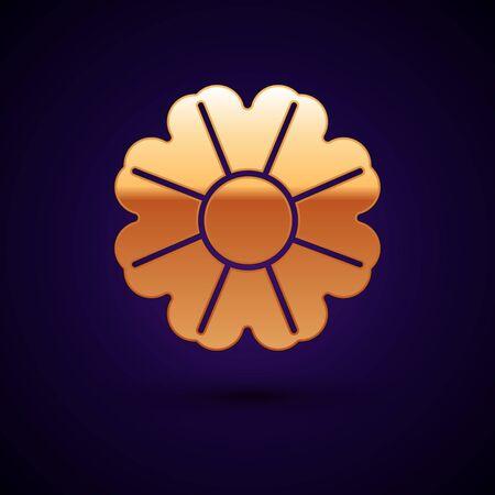 Gold Flower icon isolated on dark blue background. Vector Illustration Illustration