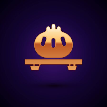 Gold Dumpling on cutting board icon isolated on dark blue background. Traditional chinese dish. Vector Illustration