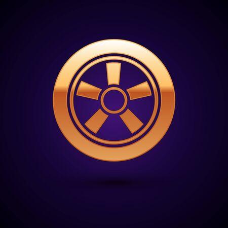 Gold Car wheel icon isolated on dark blue background. Vector Illustration Illustration