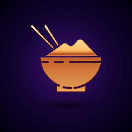 Gold Rice in a bowl with chopstick icon isolated on dark blue background. Traditional Asian food. Vector Illustration Ilustracja