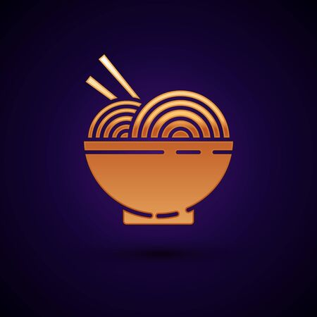 Gold Asian noodles in bowl and chopsticks icon isolated on dark blue background. Street fast food. Korean, Japanese, Chinese food. Vector Illustration Reklamní fotografie - 134899044