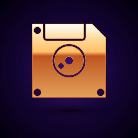 Gold Floppy disk for computer data storage icon isolated on dark blue background. Diskette sign. Vector Illustration