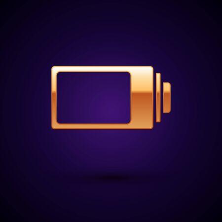 Gold Battery charge level indicator icon isolated on dark blue background. Vector Illustration Ilustração