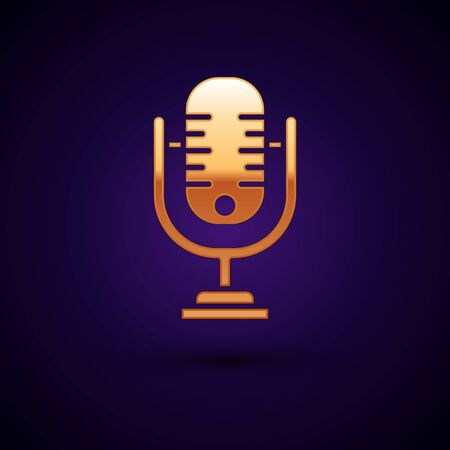Gold Microphone icon isolated on dark blue background. On air radio mic microphone. Speaker sign. Vector Illustration