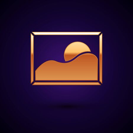 Gold Picture landscape icon isolated on dark blue background. Vector Illustration