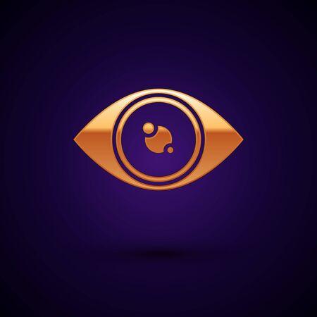Gold Eye icon isolated on dark blue background. Vector Illustration Иллюстрация
