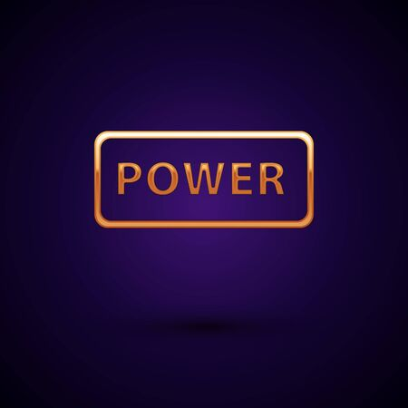 Gold Power button icon isolated on dark blue background. Start sign. Vector Illustration