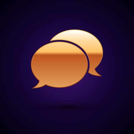 Gold Speech bubble chat icon isolated on dark blue background. Message icon. Communication or comment chat symbol. Vector Illustration Illustration
