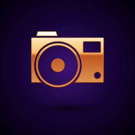 Gold Photo camera icon isolated on dark blue background. Foto camera icon. Vector Illustration Illustration