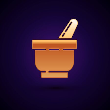 Gold Mortar and pestle icon isolated on dark blue background. Vector Illustration Ilustrace