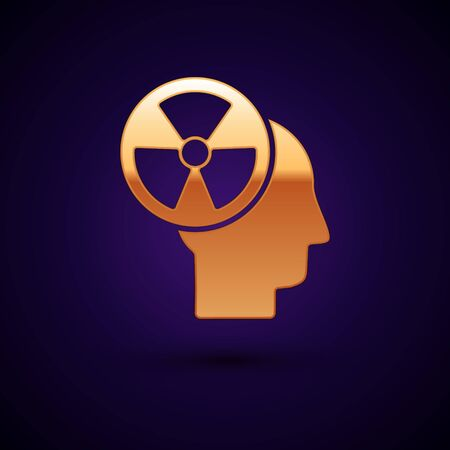 Gold Silhouette of a human head and a radiation symbol icon isolated on dark blue background. Vector Illustration