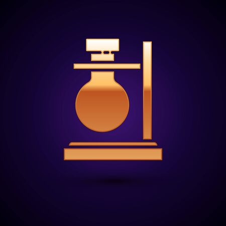 Gold Glass test tube flask on stand icon isolated on dark blue background. Laboratory equipment. Vector Illustration