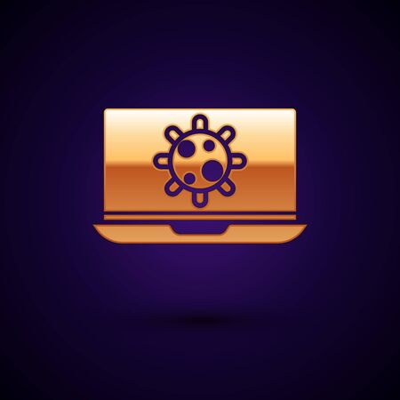 Gold Bacteria on laptop icon isolated on dark blue background. Bacteria and germs, cell cancer, microbe, virus, fungi. Vector Illustration