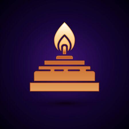 Gold Alcohol or spirit burner icon isolated on dark blue background. Chemical equipment. Vector Illustration Illustration