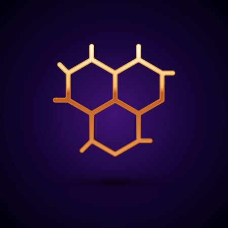 Gold Chemical formula icon isolated on dark blue background. Abstract hexagon for innovation medicine, health, research and science. Vector Illustration