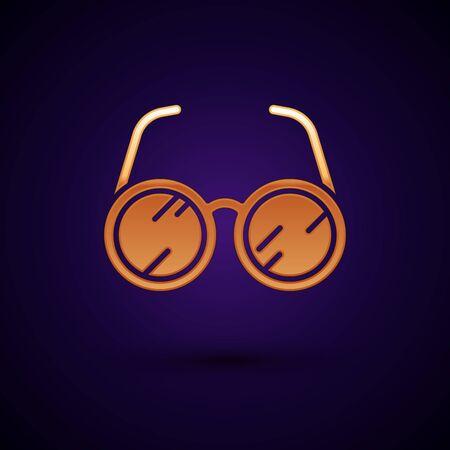 Gold Laboratory glasses icon isolated on dark blue background. Vector Illustration Illustration