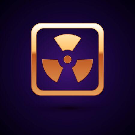 Gold Radioactive icon isolated on dark blue background. Radioactive toxic symbol. Radiation Hazard sign. Vector Illustration