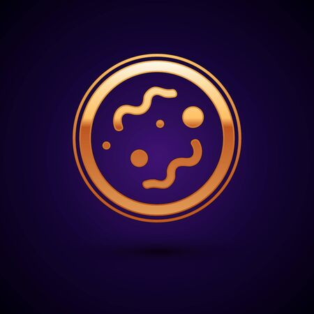 Gold Bacteria icon isolated on dark blue background. Bacteria and germs, microorganism disease causing, cell cancer, microbe, virus, fungi. Vector Illustration
