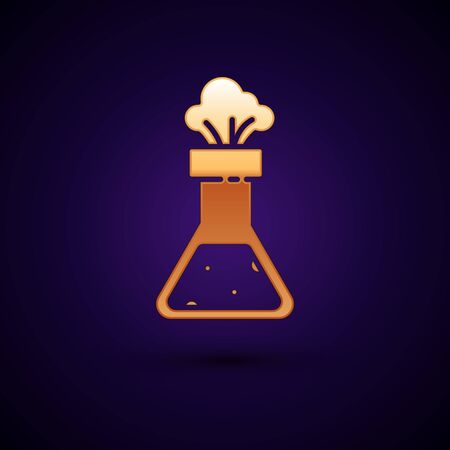 Gold Test tube and flask chemical laboratory test icon isolated on dark blue background. Laboratory glassware sign. Vector Illustration Illustration