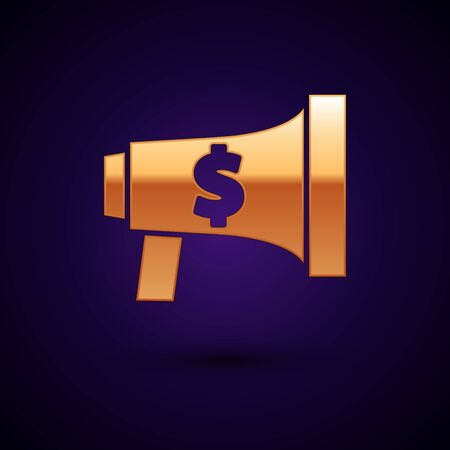 Gold Megaphone and dollar icon isolated on dark blue background. Loud speach alert concept. Bullhorn for Mouthpiece scream promotion. Vector Illustration