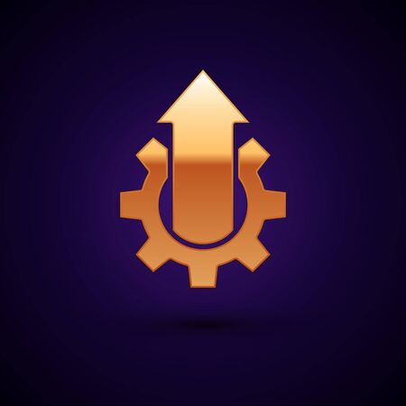 Gold Arrow growth gear business icon isolated on dark blue background. Productivity icon. Vector Illustration Illustration