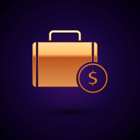 Gold Briefcase and money icon isolated on dark blue background. Business case sign. Business portfolio. Vector Illustration