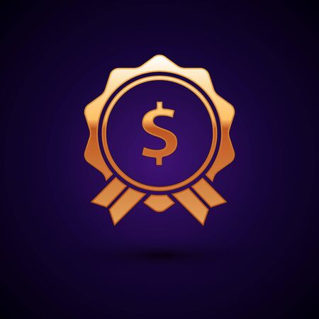Gold Price tag with dollar icon isolated on dark blue background. Badge for price. Sale with dollar symbol. Promo tag discount. Vector Illustration