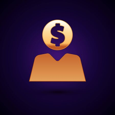 Gold Business man planning mind icon isolated on dark blue background. Human head with dollar. Idea to earn money. Business investment growth. Vector Illustration Illustration