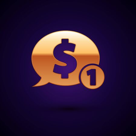 Gold Speech bubble with dollar icon isolated on dark blue background. Badge for price. Sale with dollar symbol. Promo tag discount. Vector Illustration