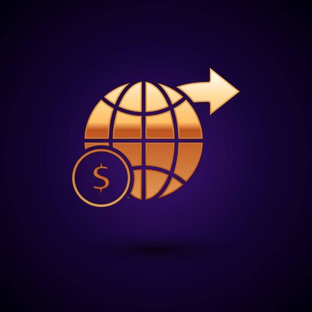 Gold Earth globe with dollar symbol icon isolated on dark blue background. World or Earth sign. Global internet symbol. Geometric shapes. Vector Illustration