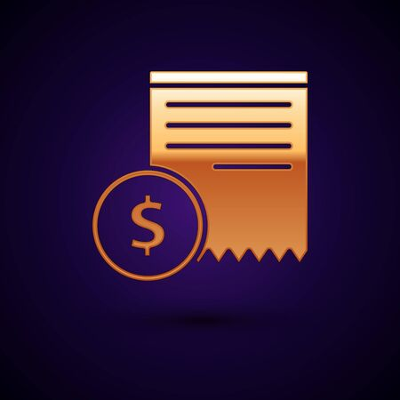 Gold Paper check and financial check icon isolated on dark blue background. Paper print check, shop receipt or bill. Vector Illustration