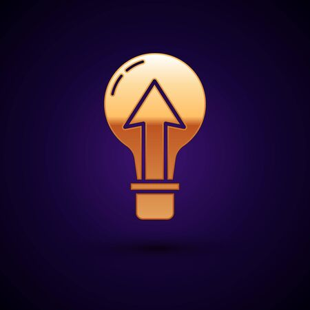 Gold Light bulb icon isolated on dark blue background. Energy and idea symbol. Lamp electric. Vector Illustration Illustration