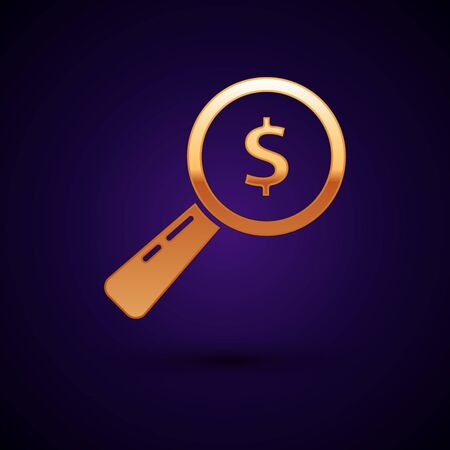 Gold Magnifying glass and dollar icon isolated on dark blue background. Find money. Looking for money. Vector Illustration