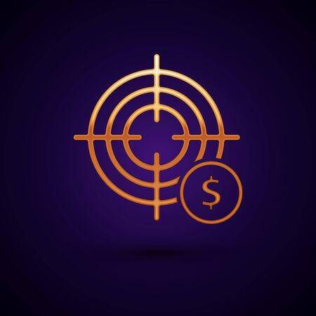 Gold Target with dollar symbol icon isolated on dark blue background. Investment target icon. Successful business concept. Cash or Money. Vector Illustration