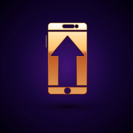 Gold Smartphone, mobile phone icon isolated on dark blue background. Vector Illustration