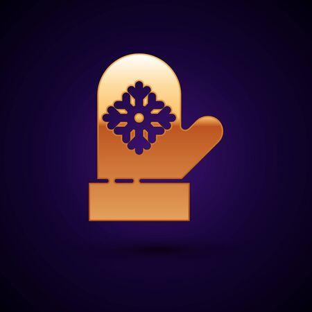 Gold Christmas mitten icon isolated on dark blue background. Vector Illustration Illustration