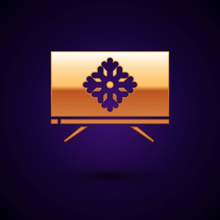 Gold Merry Christmas on television and snowflake icon isolated on dark blue background. Happy New Year. Vector Illustration