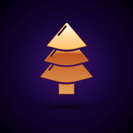 Gold Christmas tree icon isolated on dark blue background. Merry Christmas and Happy New Year. Vector Illustration Illustration