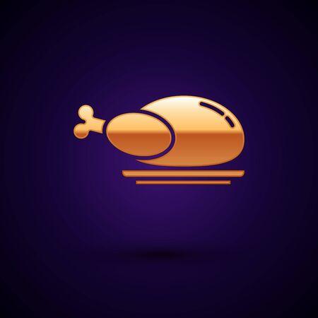 Gold Roasted turkey or chicken icon isolated on dark blue background. Vector Illustration Illustration