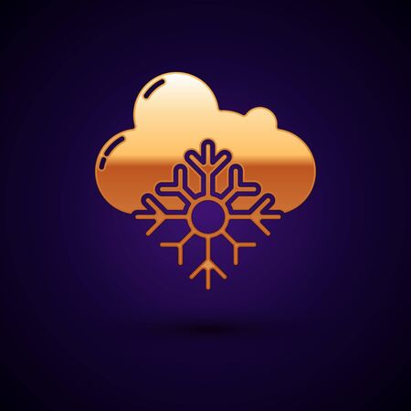 Gold Cloud with snow icon isolated on dark blue background. Cloud with snowflakes. Single weather icon. Snowing sign. Vector Illustration