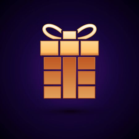 Gold Gift box icon isolated on dark blue background. Merry Christmas and Happy New Year. Vector Illustration Illustration