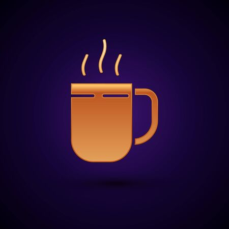Gold Coffee cup icon isolated on dark blue background. Tea cup. Hot drink coffee. Vector Illustration