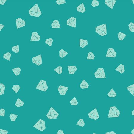 Green Diamond icon isolated seamless pattern on green background. Jewelry symbol. Gem stone.  Vector Illustration