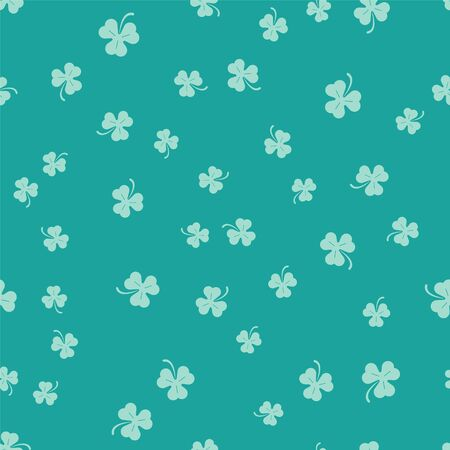 Green Four leaf clover icon isolated seamless pattern on green background. Happy Saint Patrick day.  Vector Illustration Stock Vector - 134913388