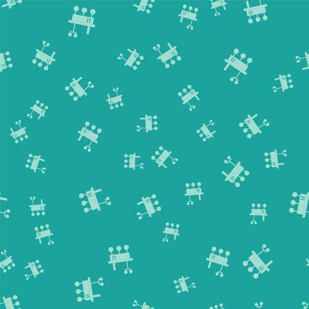 Green Mars rover icon isolated seamless pattern on green background. Space rover. Moonwalker sign. Apparatus for studying planets surface. Vector Illustration Illusztráció