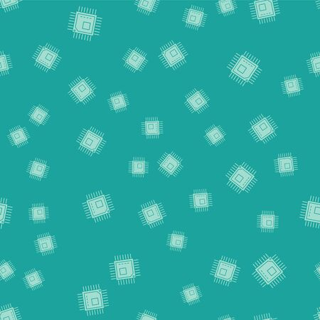 Green Computer processor with microcircuits CPU icon isolated seamless pattern on green background. Chip or cpu with circuit board sign. Micro processor. Vector Illustration