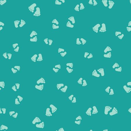 Green Baby footprints icon isolated seamless pattern on green background. Baby feet sign. Vector Illustration
